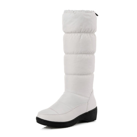 White Elegant PU+Down Women Wedge Low Heel Mid Calf Snow Boots Motorcycle Boots Size - Free Shipping Pros