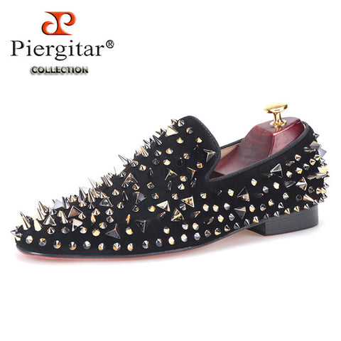 Piergitar new arrive men suede shoes with gold and black rivet Fashion party and banquet men loafers Euro style smoking slipper - Free Shipping Pros