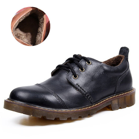 Winter 2018 Men Warm Casual Genuine Leather Oxford Fur Waterproof Work Shoes - Free Shipping Pros