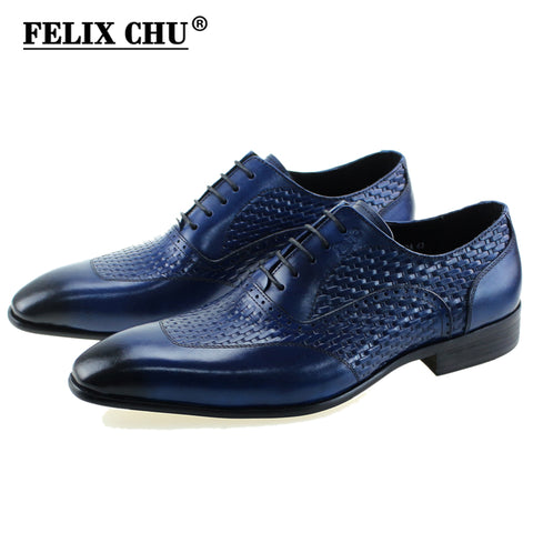 FELIX CHU Luxury Italian Genuine Cow Leather Men Blue Wedding Oxford Shoes Lace-Up Office Suit Men's Dress Shoe #D560-20A - Free Shipping Pros