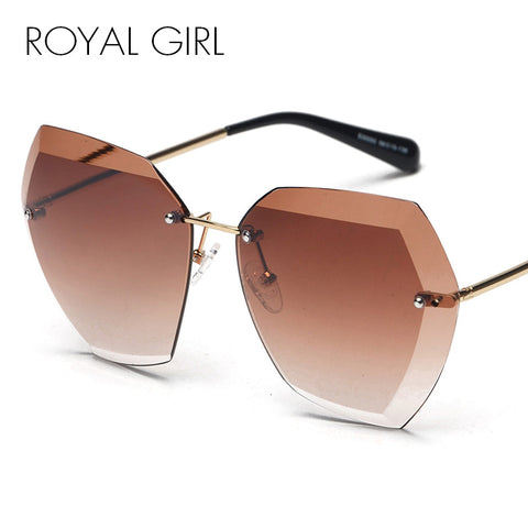 ROYAL GIRL Brand Designer Women Sunglasses Vintage Rimless frame Summer Lens shade glasses SS260 - Free Shipping Pros