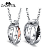 GAGAFEEL Charms Necklace Pendants Men Jewelry Choker Circle Stainless Steel Love Couple For Lover Valentine Gifts - Free Shipping Pros