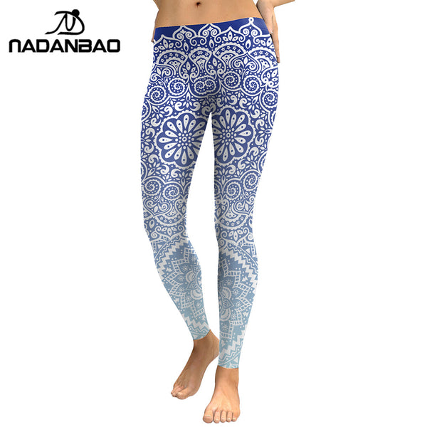 NADANBAO Women Leggings Fresh Lotus Printing Woman Leggins Aztec Round Ombre Fitness Trousers