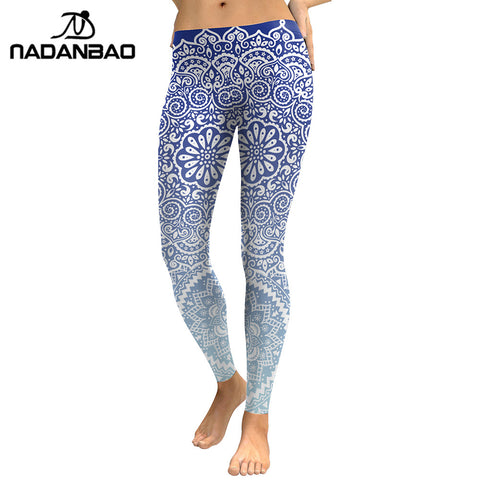 NADANBAO Women Leggings Fresh Lotus Printing Woman Leggins Aztec Round Ombre Fitness Trousers - Free Shipping Pros