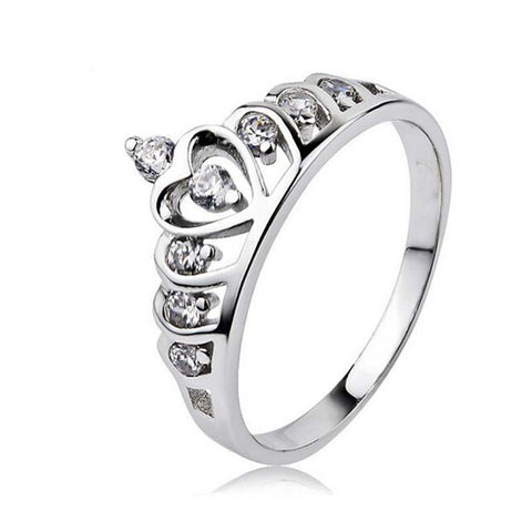 Fashion Tail Ring Sterling Silver 925 Austrian Crystal Crown Queen Princess Ring Valentine's Day Gift - Free Shipping Pros