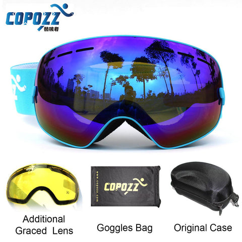 Yellow Lens UV400 Anti-fog Spherical men women snow goggles + Lens + Box Case Set - Free Shipping Pros