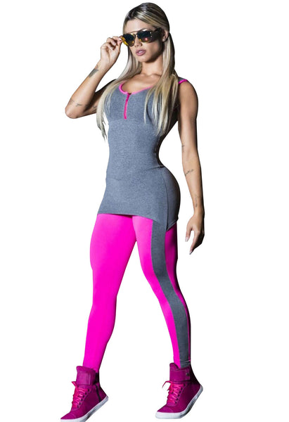 Faux 2 Piece V Front Zip Jogging Fitness Yoga Workout Clothes For Women