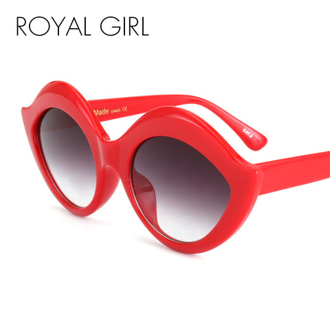 ROYAL GIRL Retro Vintage Oval Labiate Sunglasses Lip Sun glasses Alien Shades White Black Red Blue UV400 ss055 - Free Shipping Pros