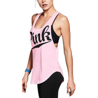 Sexy Women Tank Tops Quick Dry Loose Fitness Sleeveless Vs Love Pink Vest Singlet Exercise Workout T-Shirt