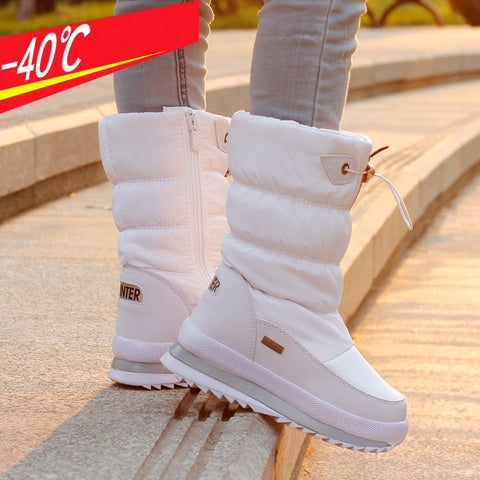 Ollas Winter Shoes Women 2017 Russia Winter Waterproof Boots Woman Snow Boots Zip Platform Min-calf Boot D2347 - Free Shipping Pros