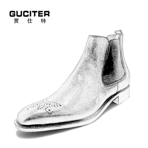 Handmade customized men's leather Chelsea boot keep warm fur or Sheepskin wool-one - Free Shipping Pros