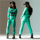 Tracksuits Women Hoodies Pink Letter Printed Casual Hip Hop Sportswear Sweatshirt+Pants - Free Shipping Pros