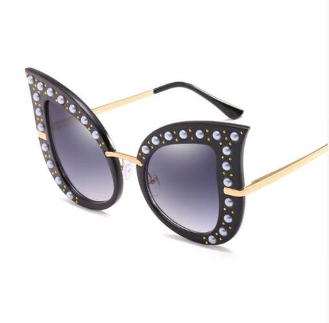 ROYAL GIRL Fashion Cat Eye Sunglasses Women Brand Designer Pearl Decoration Frame Oversize Rivet Shades ss069 - Free Shipping Pros