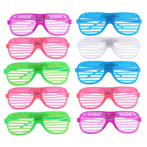 12 Pairs of Plastic Shutter Shades Grid LED Glasses Eyewear Halloween Club Party Cosplay Props - Free Shipping Pros