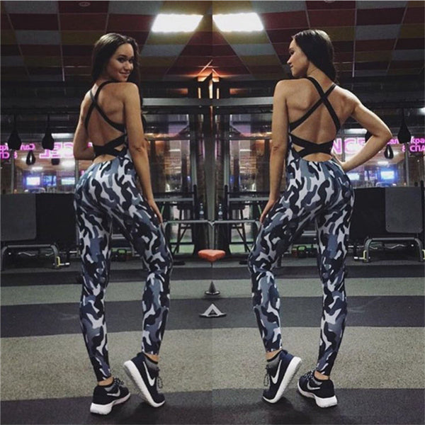 Sport Yoga Set Sexy U-neck Backless Women Closed-Fitting Jumpsuit Gym Running Suit Workout Clothes