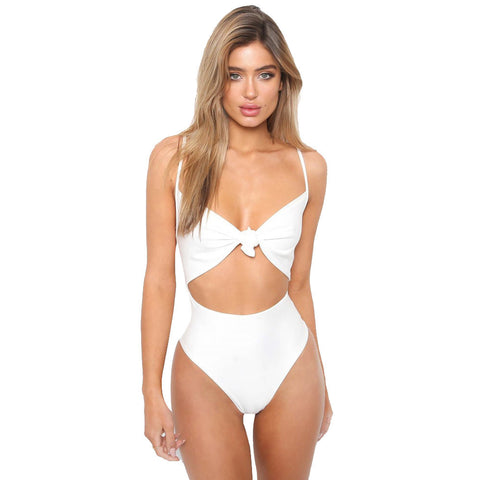 Women's Piece Of Swimsuit Solid Bowknot Bikini Swimwear Beachwear Bathing Suit - Free Shipping Pros