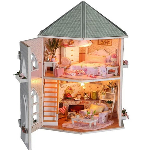 Love Fortress Wooden Assemble Building Model House Valentine Christmas Gift DIY - Free Shipping Pros