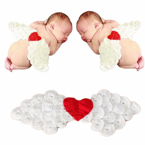 Sweet Lovely Shower Cosplay Knitted Handmade Heart Decoration Photography Custume Baby Clothes Angel Wings - Free Shipping Pros