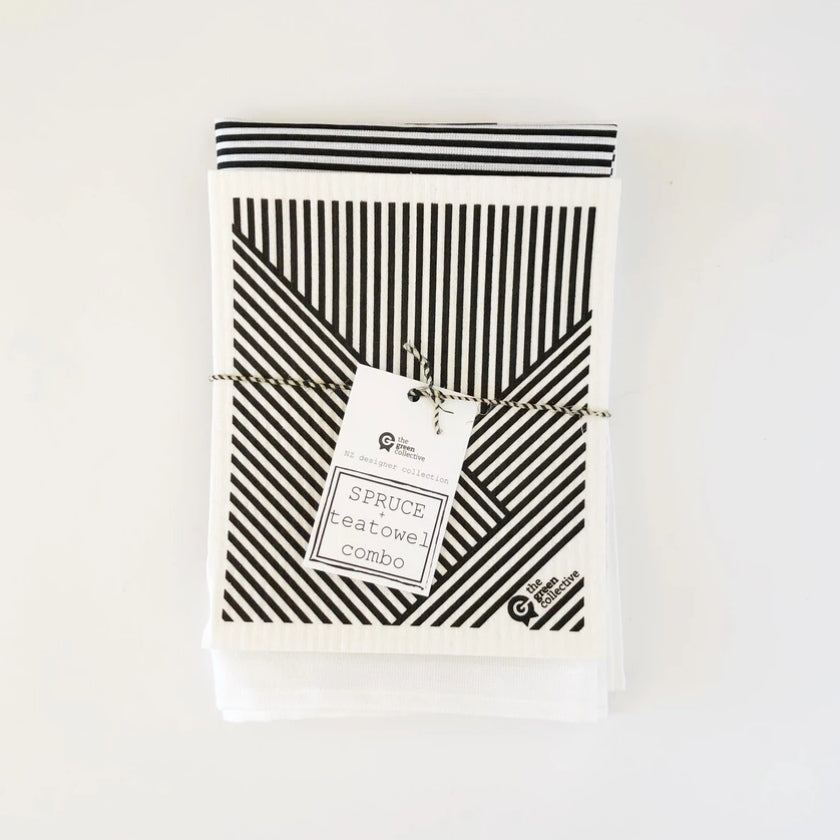 Spruce Dish Cloth & Tea Towel Set - Stripes
