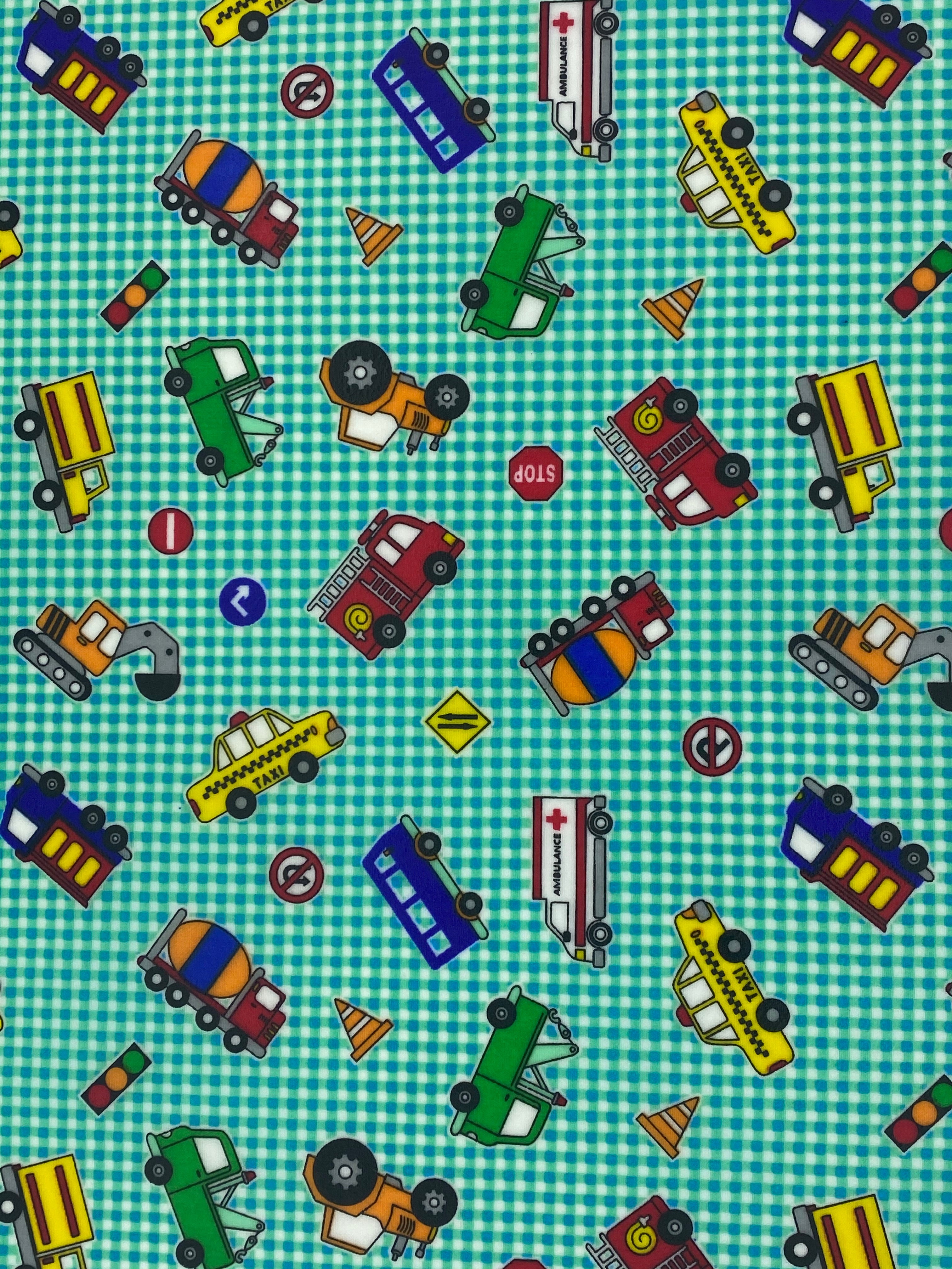 Medium - Gingham Toy Trucks