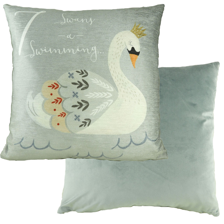 7 Swans Swimming 12 Days Cushion