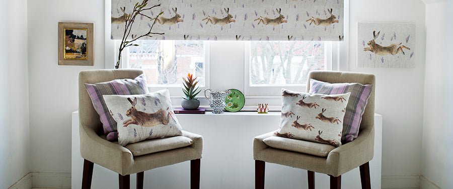 Country Rural Leaping Hare Fabric - by the metre