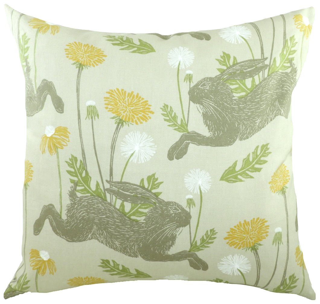 March Hare Ochre Cushion