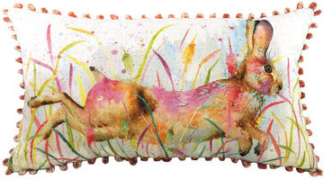 Artistic Animals Running Hare Bobble Trim Cushion