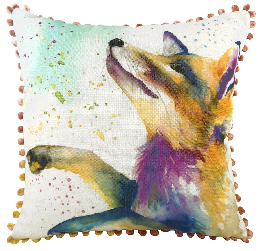 Artistic Animals Fox Bobble Trim Cushion