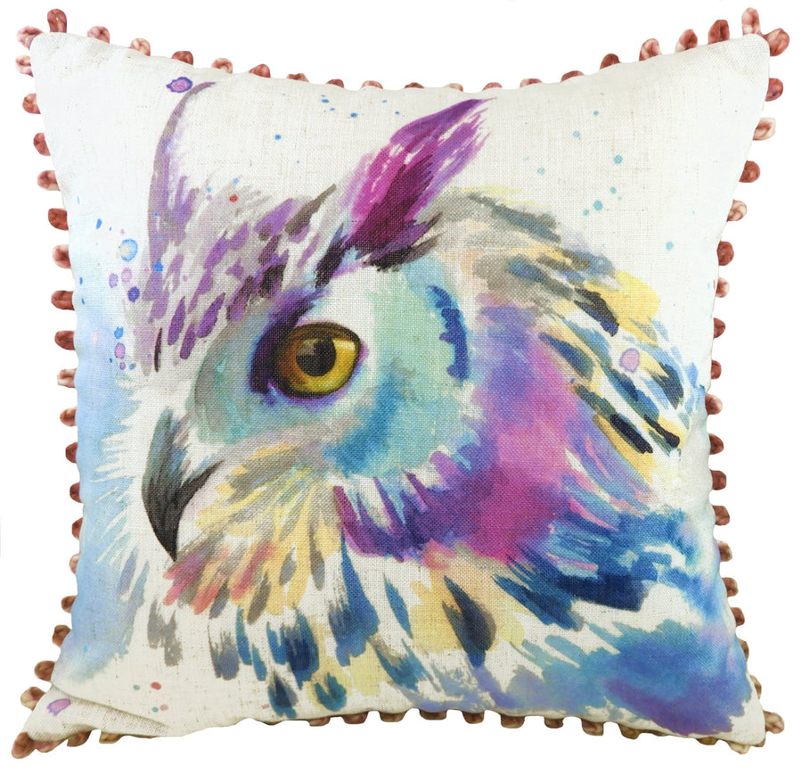 Artistic Animals Owl Bobble Trim Cushion