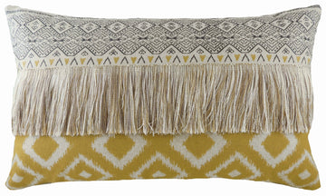 Aztec Ochre Fringed Cushion