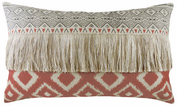 Aztec Terracotta Fringed Cushion