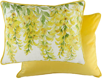 Blossoms Laburnum Yellow Piped Cushion
