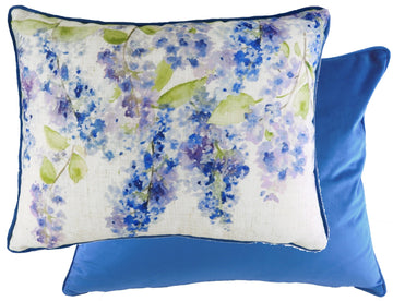 Blossoms Lilac Azure Piped Cushion