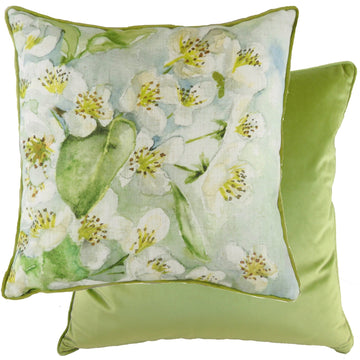 Blossoms Pear Green Piped Cushion