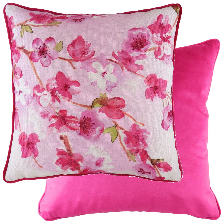 Blossoms Cherry Magenta Piped Cushion