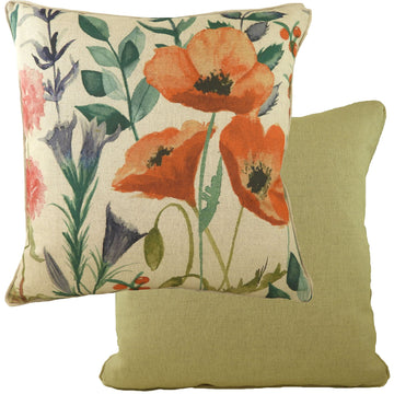 Botanics Poppies Piped Cushion