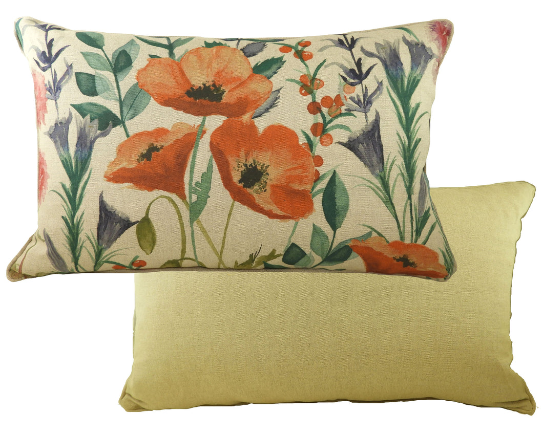 Botanics Poppies Oblong Piped Cushion