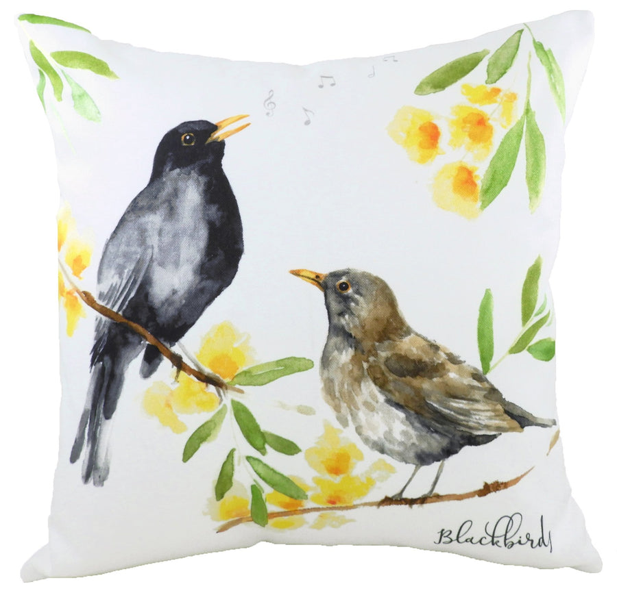 British Birds Blackbirds Cushion