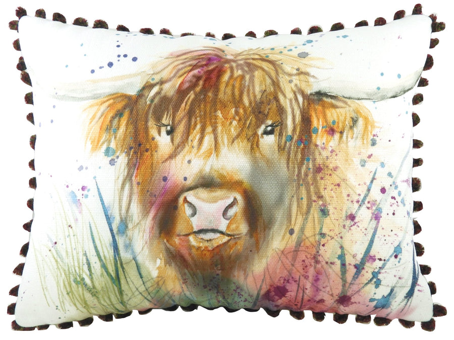 British Wildlife Highland Cow Pom Pom Cushion