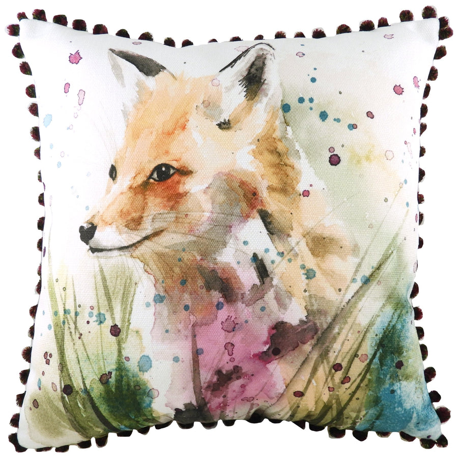 British Wildlife Fox Pom Pom Cushion