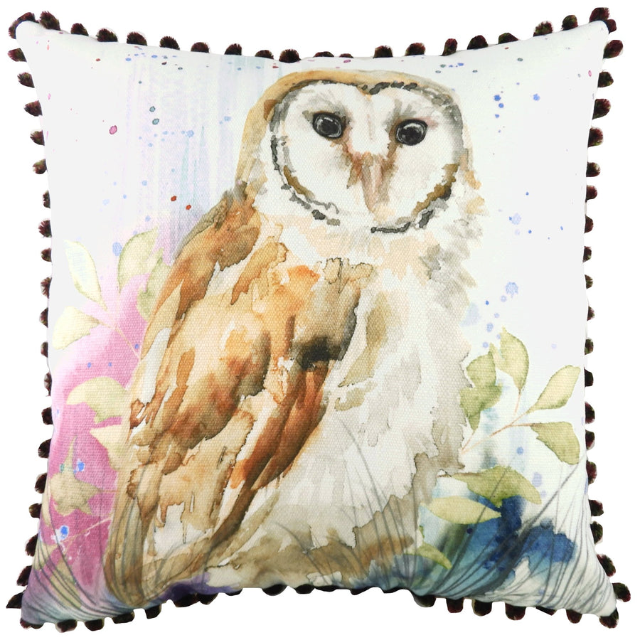 British Wildlife Owl Pom Pom Cushion