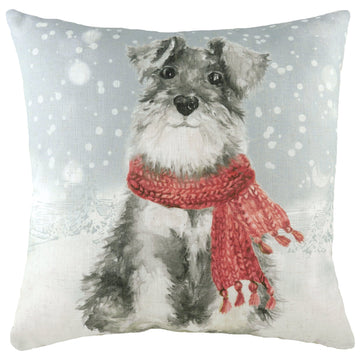 Snowy Dog With Scarf Cushion