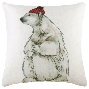 Polar Bear With Hat Cushion