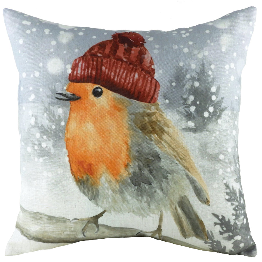 Snowy Robin With Hat Cushion