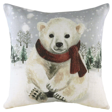 Snowy Polar Bear With Scarf Cushion