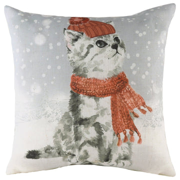 Snowy Cat With Scarf Cushion