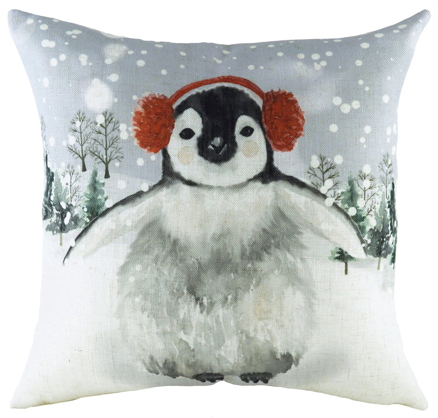 Snowy Penguin With Earmuffs Cushion