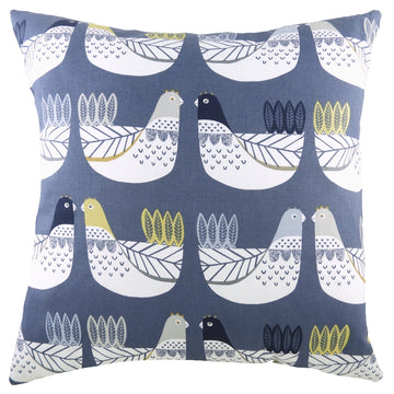 Cluck Cluck Blue/Ochre Cushion