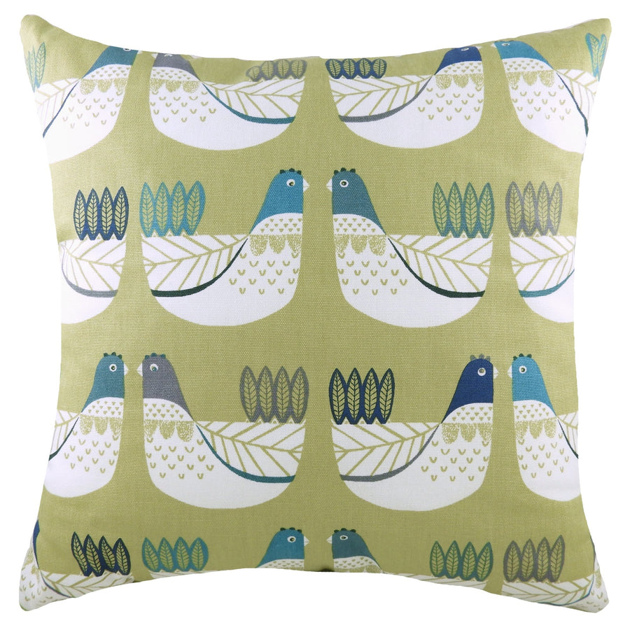 Cluck Cluck Green/Blue Cushion